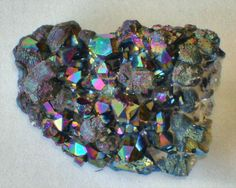 Cobalt Blue Purple and Green Flame Aura quartz by SilverFound, $9.75
