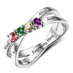 Customized Gift Idead For Her, Personalized Silver Ring For Women, Customized Gift For Mom, Personalized Gift For Mother, Customized Birthstone Ring #birthstone #customized #personalized #ring #rings #etsy #giftideas Friendship Rings, Thing 1, Mother Rings, Engraved Rings, Stone Rings, Personalized Jewelry, Gifts For Mom, Sterling Silver Rings, Women Jewelry