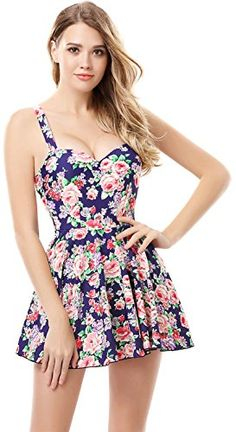 4dd7fd1bfc139 One-Piece Beach Wear Floral Skirted Siamese A-line Skater Swimsuit M Blue  Arctic