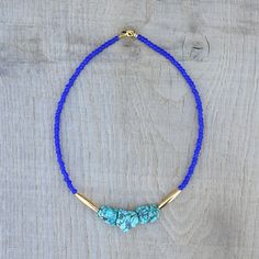 Coucou Suzette / Sophie Necklace // royal blue turquoise gold / statement necklace / Hippie chic / Boho / Colorful beaded necklace / elegant jewelry