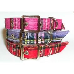 Tartan Leather Designer Dog Collar Tallulah Couture