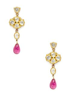 Multicolor Enamel, Diamond, & Tourmaline Multi-Drop Earrings by Amrapali at Gilt