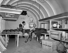Fallout shelter. Really? That's rich!  During a nuclear holocaust,you're gonna dress like you're from burlesque? LOL.
