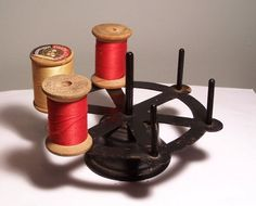 19c Antique Cast Iron Rotating Spool Thread Holder Sewing Quilt Sew | eBay