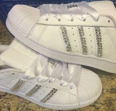 ADIDAS Superstar WOMENS All White Shoes by EverythingBling14