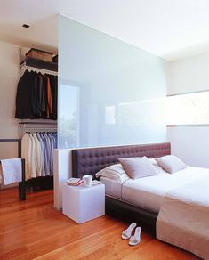 Walk In Closet Behind Bed Small Spaces Room Dividers Ideas Bedroom Divider, Bedroom Closet Design, Bedroom Wardrobe, Closet Designs, Bedroom Storage, Home Bedroom, Master Bedroom, Bedroom Decor, Room Dividers