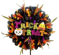 Trick or Treat Wreath designed by Karen B., A.C. Moore Erie, PA #decomesh #wreath #halloween