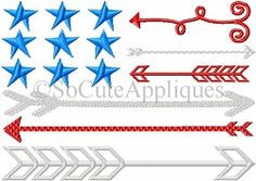 Flag Arrows - 5x7 | What's New | Machine Embroidery Designs | SWAKembroidery.com So Cute Appliques