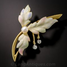 Enamel Three-Leaf Brooch with Pearl Diamonds - 50-1-4887 - Lang Antiques