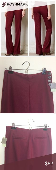 Elevenses The Brighton pant Gorgeous wine wide leg trousers with side buttons. Flat front and back welt pockets. Anthropologie Pants Trousers