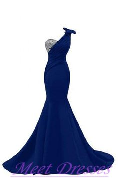 Sexy Mermaid One Shoulder Royal Blue Prom Gowns Long Evening Dresses For Pageant…
