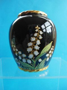 Vintage Carlton Ware Noire Royale Lily OF THE Valley Vase Perfect | eBay