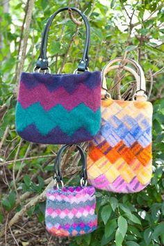 Zigzag Entrelac Bags by Gwen Bortner | Knitting Pattern