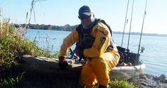"Daniel ""Pondboy"" Byrne kayak-fishes throughout the year in his Enki Relief drysuit."