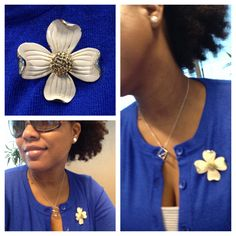 Brooch fashion!! Love this vintage brooch! It's simple but gives my sweater some attention.