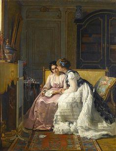 "CHARLES-LOUIS BAUGNIET   (Bruxelas, Bélgica, 27 de fevereiro de 1814 – Sèvres, Bélgica, 05 de julho de 1886) - ""The love letter"""