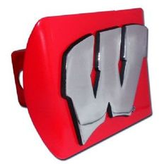 University of Wisconsin Logo Red and Silver Chrome Trailer Hitch Coveris for the University of Wisconsin or NCAA, Wisconsin Badgers sports fan and comes on a red background with large, silver University of Wisconsin W text logo.