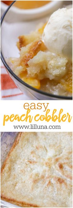 Our FAVORITE peach dessert! This homemade Peach Cobbler recipe takes just a few minutes to prep and is beyond easy! Add some ice cream and cool whip to this delicious cobbler and you're set! Fruit Recipes, Dessert Recipes, Cooking Recipes, Easy Recipes, Dessert Ideas, Sweet Recipes, Just Desserts, Delicious Desserts, Easy Cheap Desserts