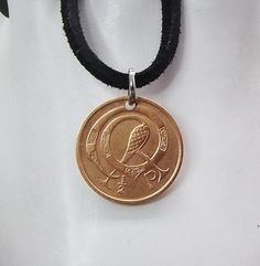 Small Irish Coin Necklace 1/2 Pingin Coin Pendant Leather