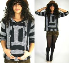 Vintage BAJA Blanket STRIPED Surf WOVEN Mexican HOODED Top Sweater Hippie BOHO Shirt