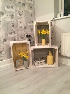 Yellow & grey crates shelves