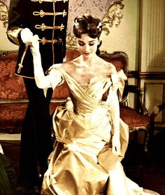 Colorized photo of Audrey Hepburn in Mayerling, 1957.