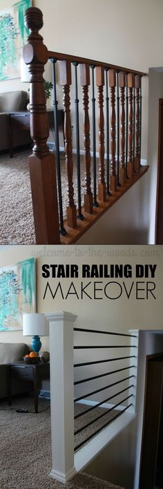 Before And After Stair Railing DIY Makeover. This Mommy Blogger Transformed  An Outdated Oak Baluster