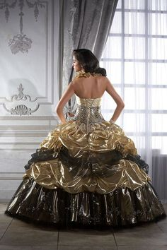 Gold accented ball gown I would want it in dark blue and gold ...