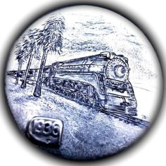 TOM MAHER HOBO NICKEL - SP LOCOMOTIVE - 1936 BUFFALO NICKEL Hobo Nickel, Coin Art, Locomotive, Art Forms, Sculpture Art, Folk, Coins, Miniatures, Carving