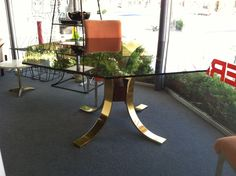 Spectacular Hollywood regency brass octagon dining table @$3000