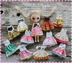 Got into crazy petite dresses mode! (first batch - sold out) Tiny Dolls, Ooak Dolls, Blythe Dolls, Grey Cats, Doll Shoes, Petite Dresses, Halloween Outfits, Doll Patterns, Beautiful Dolls