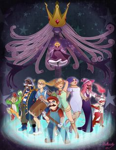 Mario and crew facing the ultimate darkness behind the Thousand Year Door (well, facing some off screen entity at least). Mario And Luigi Games, Mario Bros., Cute Drawlings, Cute Art, Metroid, Mario Comics, Super Mario Art, Paper Mario, Super Mario Brothers