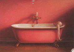 """Born Tampere, Finlandopinnot studies: Turun Taideyhdistyksen Piirustuskoulu """"Kaj Stenvall first came to the atte. Clawfoot Bathtub, Indoor, Painting, Ducks, Blush, Smile, Illustrations, Art, Pink"""