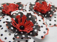 White, Black and Red Polka-Dotted Anemone like Flowers-Set of 3 by ShalomEverlasting on Etsy https://www.etsy.com/listing/252571395/white-black-and-red-polka-dotted-anemone
