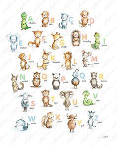 Alphabet print with purple- Alphabet poster - Alphabet art - Children's art - ABC wall art - ABC print - Nursery decor - Kids room decor Poster Alphabet, Alphabet Print, Abc Alphabet, Doodle Drawings, Animal Drawings, Cute Drawings, Watercolor Drawing, Watercolor Animals, Abc Wand
