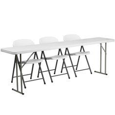 White folding table set RB-1896-2-GG