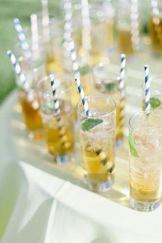 mint juleps with striped straws   Laura Gordon