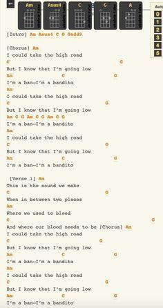 bandito 1 twenty one pilots Ukulele Chord Sheet, Guitar Chords For Songs, Music Chords, Ukulele Songs, Piano Songs, Music Tabs, Ukulele Tabs, Ukulele Chords, Song Notes