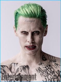 Jared Leto in costume as The Joker with green hair.