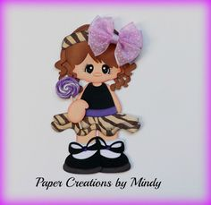 ELITE4U lollipop girl kid summer premade paper piecing scrapbooking page purple ~ Paper Creations by Mindy