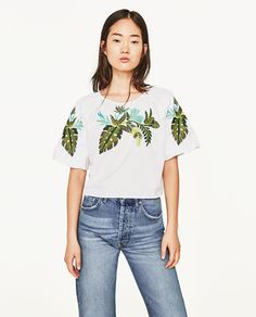 b49f69c7e3529 EMBROIDERED LEAVES BLOUSE - Blouses-TOPS-WOMAN-SALE
