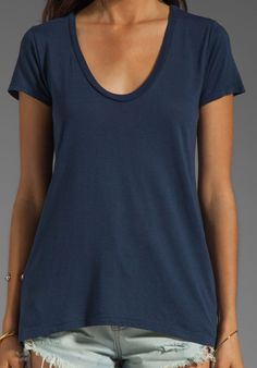 SPLENDID Very Light Jersey Scoop Tee in Navy at Revolve Clothing - Free Shipping!