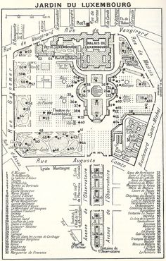 Ate lunch here quite often.                        a vintage map of le jardin du luxembourg in the 6th arrondissement.