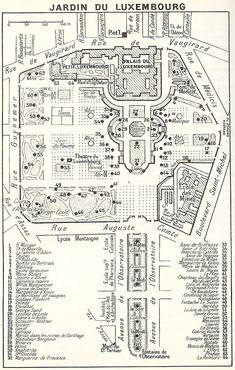 a vintage map of le jardin du luxembourg in the 6th arrondissement. (paris)