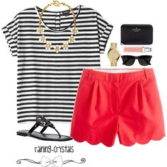 50 Casual Chic Summer Outfit Ideas for 2019 - Shirt Casuals - Ideas of Shirt Casual - Stripped Shirt with Red Shorts Not sure if I can pull off the shorts but they look cute Casual Chic Summer, Chic Summer Outfits, Short Outfits, Spring Summer Fashion, Casual Outfits, Summer Fall, Summer Clothes, Preppy Outfits For School, Beach Clothes