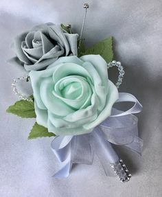 Artificial Wedding Flowers, Buttonholes, Boutonnieres, Ladies Corsage, Mint Green and Grey Roses with crystals and diamantes Mint Grey Wedding, Mint Wedding Themes, Grey Wedding Decor, Green Wedding Decorations, Wedding Ideas, Wedding Details, Wedding Colors, Mint Green Bridesmaid Dresses, Bridesmaid Flowers