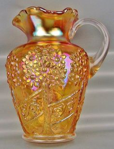 CARNIVAL GLASS - ANTIQUE FENTON ORANGE TREE ORCHARD Marigold Water Pitcher 3785