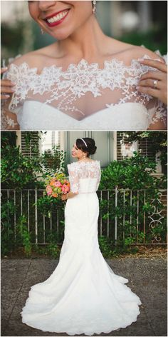 Lace Neckline Wedding Dress Bateau Fit And Flare Izzy Hudgins Photography