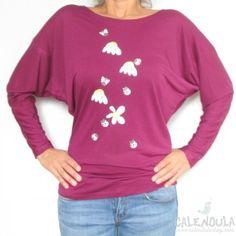 camiseta flores y mariquitas violeta-rojo - Calendula