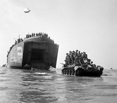 LST unloading a Cromwell tank onto Sword Beach, Normandy, France on June 7, 1944.